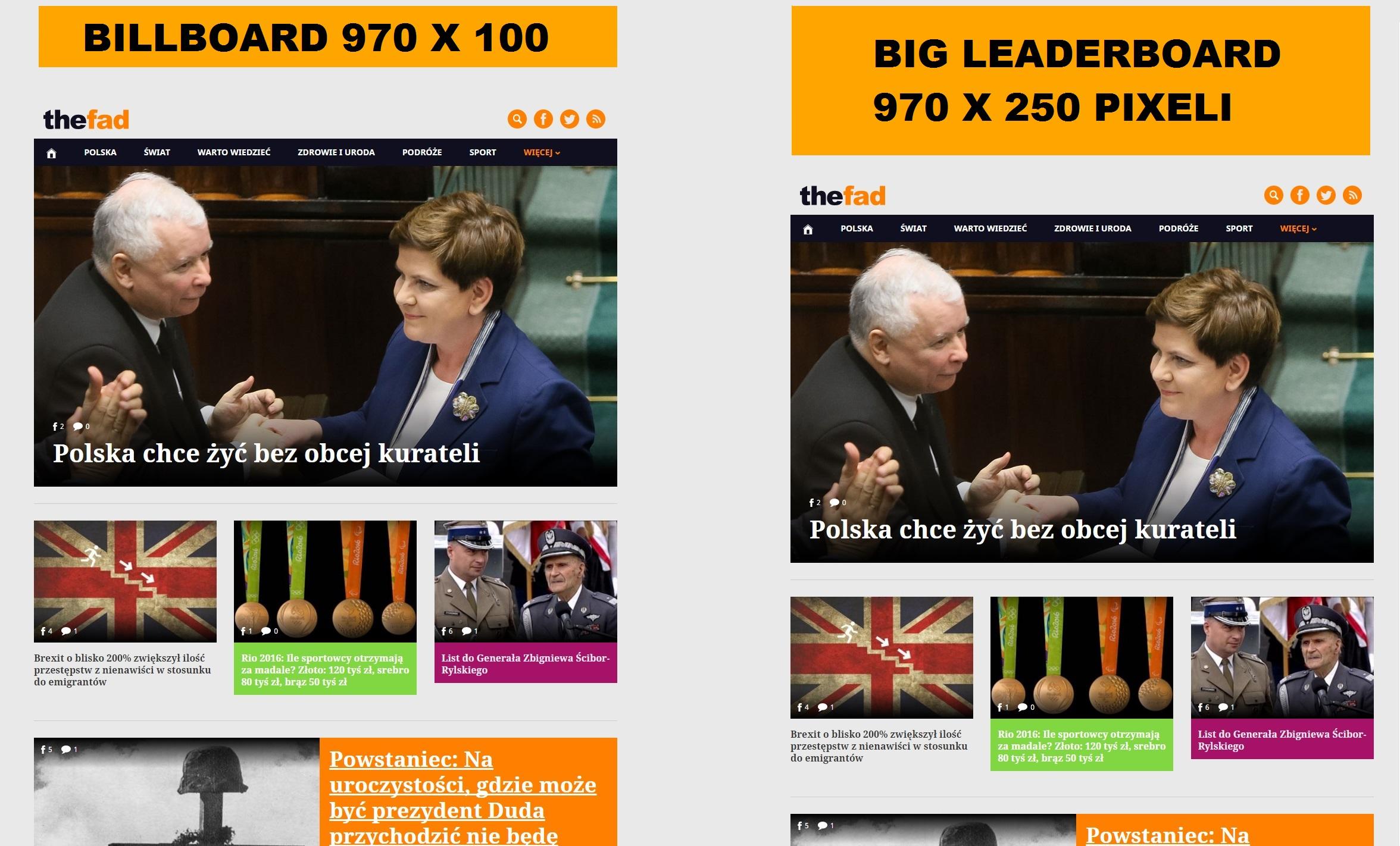 Biuro reklamy TheFad.pl: wizualizacja reklam billboards 970 x 100 pixeli 970 x 200 pixeli