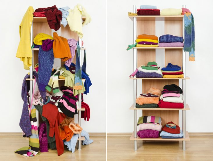 Before untidy and after tidy wardrobe with colorful winter cloth