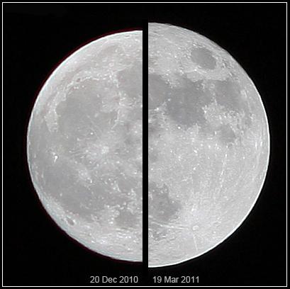 """Superksiężyc 19 marca 2011 r. (z prawej) w porównaniu ze """"zwykłym"""" widocznym 20 grudnia 2010 r. Fot. wikipedia.org"""