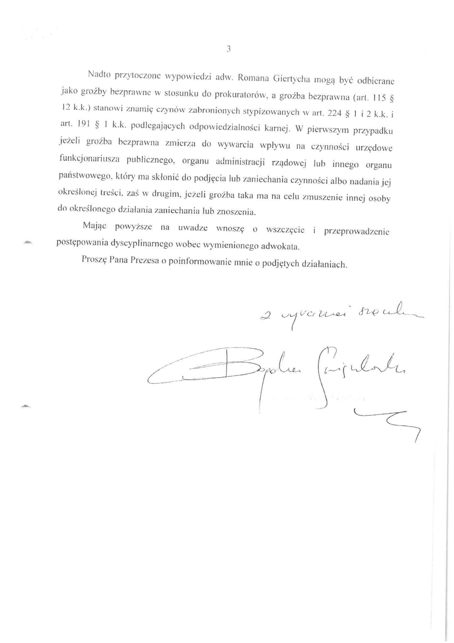 Pismo Prokuratora Krajowego do Romana Giertycha