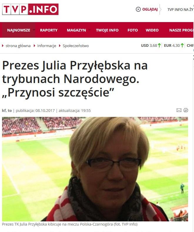 """Internet kpi z wpisu TVP Info """"Prezes Julia Przyłębska na trybunach Narodowego. Przynosi szczęście"""" #StopDopalaczom"""