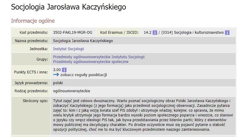 Socjologia Jarosława Kaczyńskiego - nowy przedmiot proponowany przez UW. Fot. screenshot https://usosweb.uw.edu.pl
