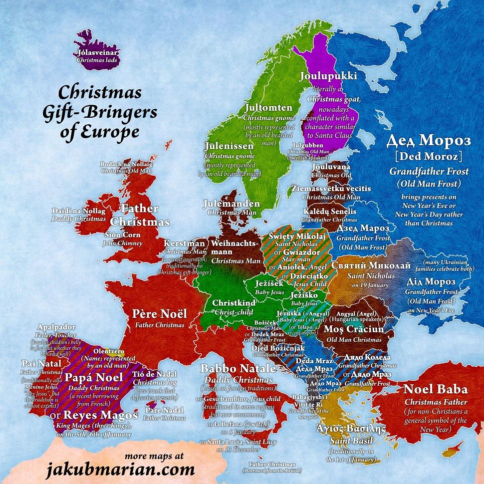 Jak się nazywa Święty Mikołaj w różnych rejonach Europy