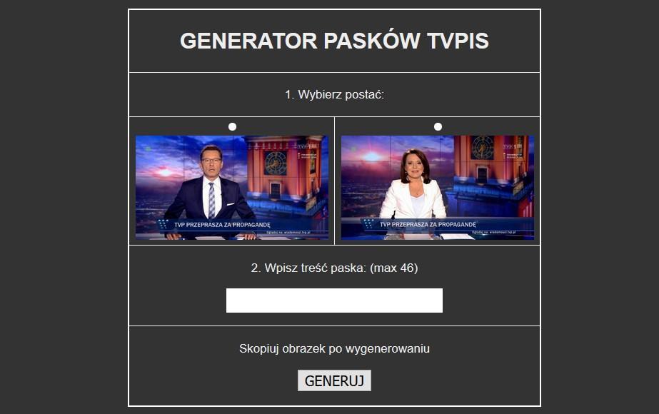 """Nowy generator pasków TVPiS. """"Celem jest parodia tępej propagandy"""""""