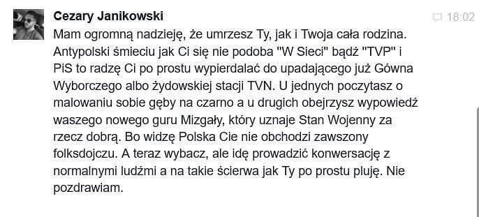 """Adam Mazguła: Hejt. """"Mam nadzieję, że urzesz Ty jak i Twoja rodzina. Antypolski śmieciu.."""""""
