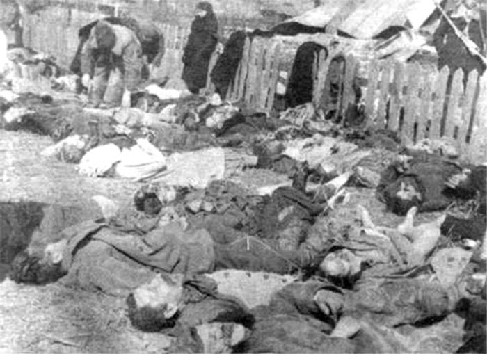 Rzeź wołyńska – ludobójstwo dokonane przez nacjonalistów ukraińskich przy aktywnym, częstym wsparciu miejscowej ludności ukraińskiej wobec mniejszości polskiej. Nie jest znana dokładna liczba ofiar, historycy szacują, że zginęło ok. 50–60 tys. Polaków i w odwecie 2–3 tysiące Ukraińców