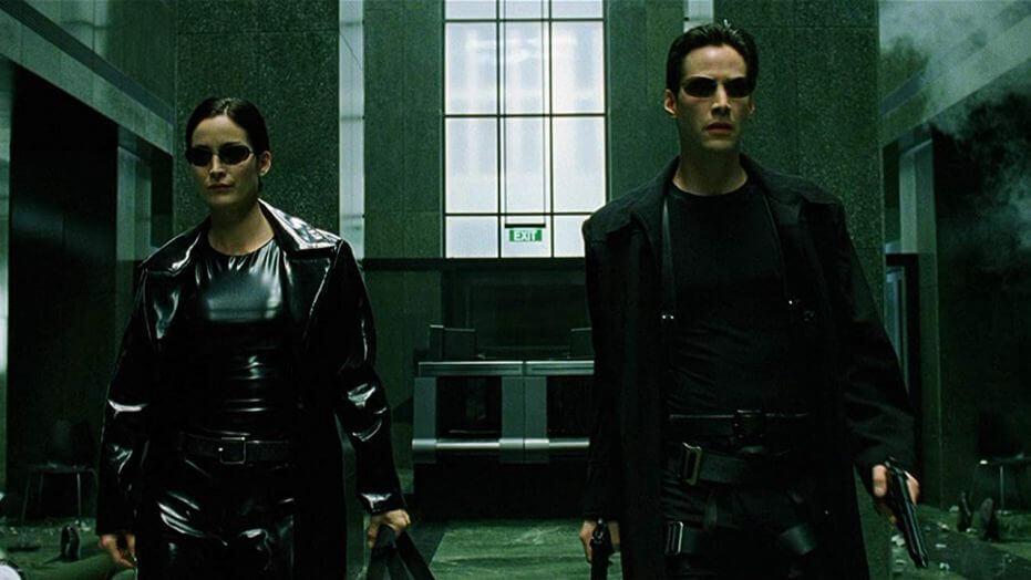Matrix - Keanu Reeves jako Neo i kanadyjska aktorka Carrie-Anne Moss jako Trinity