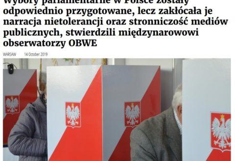 Obserwatorzy OBWE: Wybory w Polsce zaburzone przez stronniczość mediówu publicznych