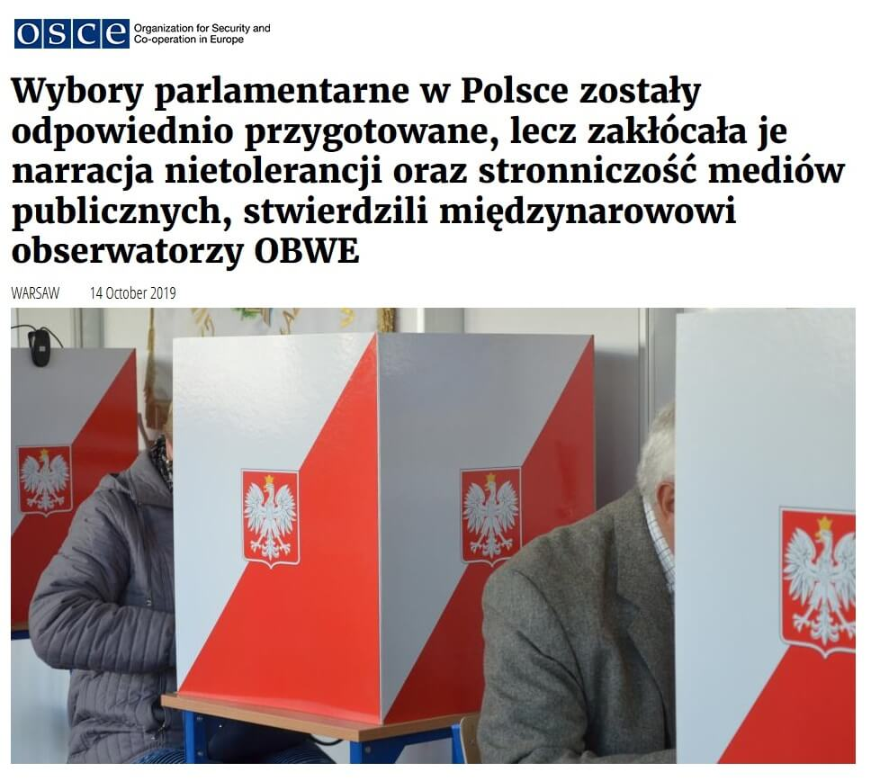 OBWE: Wybory w Polsce zaburzone przez stronniczość mediówu publicznych