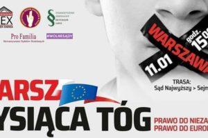 """""""Marsz tysiąca tóg"""" - plakat organizatorów akcji"""